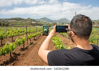 Tenerife, Canary islands - april 22, 2019: Young man taking photos with a mobile to a tractor working on a crop of grapes in the fields of the village of Tegueste