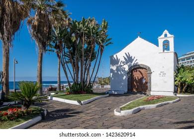 Tenerife, Canary islands - april 22, 2019: Gardens and San Telmo Chapel in the tourist city of Puerto de la Cruz, north of the island