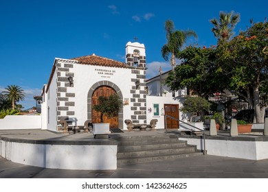 Tenerife, Canary islands - april 22, 2019: Sculpture of the monument to tourism in the mirador de la Paz, of the tourist city of Puerto de la Cruz, north of the island