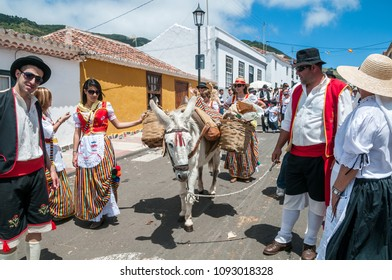 Tenerife, Canary islands - april 25, 2010: Group of men and women dressed in regional costumes next to a donkey in the streets of the town of Tegueste, during the pilgrimage