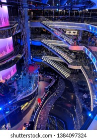 Tenerife, Canary Islands - April 4, 2019:  Interior of the Atrium in the MSC Seaview during a transatlantic trip from Brazil to Spain.