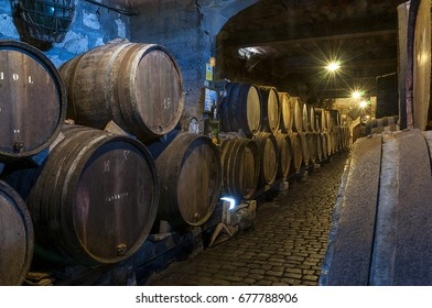 TENERIFE, CANARY ISLANDS - AUGUST 13, 2010: Interior of an old wine cellar with wooden barrels, in the north of the island