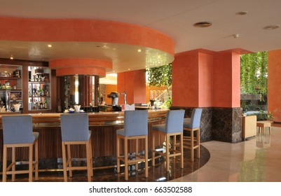 TENERIFE, CANARY ISLANDS - AUGUST 29, 2012: View of the bar facilities of a hotel, in the south of the island