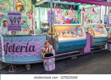 Tenerife, Canary islands - December 27, 2018: Ice cream shop at the Christmas Fair in the tourist city of Puerto de la Cruz, in the north of the island
