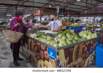 TENERIFE, CANARY ISLANDS - FEBRUARY 13, 2016: Farmers market of the town of Tacoronte