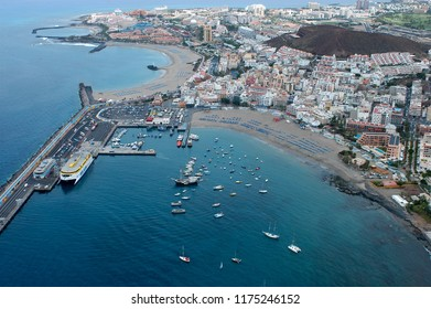 Tenerife, Canary islands - february 23, 2016: Aerial photography of the coast of Los Cristianos with views of the city, beaches and port