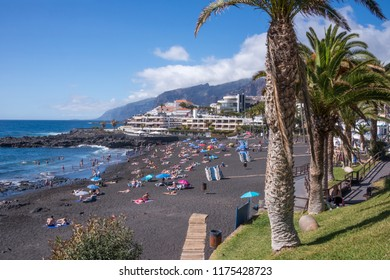 Tenerife, Canary islands - february 23, 2016: General landscape of the Playa de la Arena with palm trees and garden areas on the west coast of the island