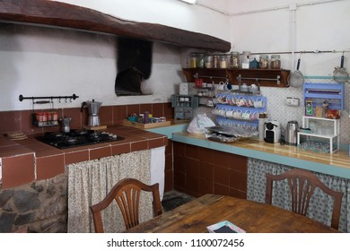 Tenerife, Canary islands - january 04, 2018: Interior of the typical kitchen of a rural house in the village of La Matanza, in the north of the island