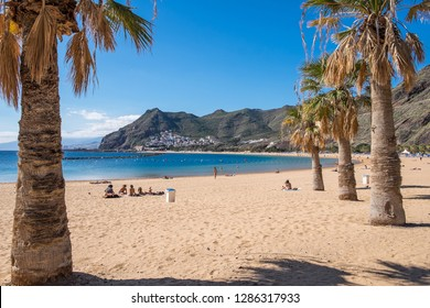 Tenerife, Canary islands - January 10, 2019: Landscape among palm trees with Las Teresitas beach and the village of San Andres on the background mountain