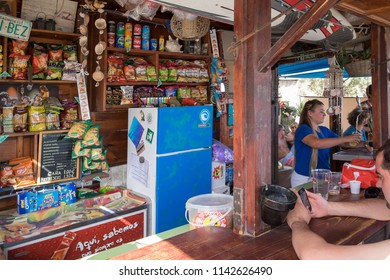 Tenerife, Canary islands - july 23, 2018: View of the interior of a kiosk bar on the beach of La Jaquita in Medano, on the south coast of the island