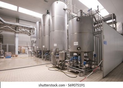 TENERIFE, CANARY ISLANDS - JUNE 08, 2013: Milk storage facilities, in a dairy product factory