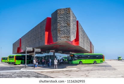 Tenerife, Canary islands - june 19, 2018: Central bus station in the university city of La Laguna, on a sunny day
