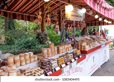 Tenerife, Canary islands - may 03, 2018: Tacoronte artisanal nougat stall in Garcia Sanabria Park in the city of Santa Cruz