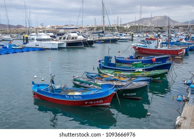 Tenerife, Canary islands - may 09, 2018: Fishing boats and yachts moored in the marina of Las Galletas, in the south of the island