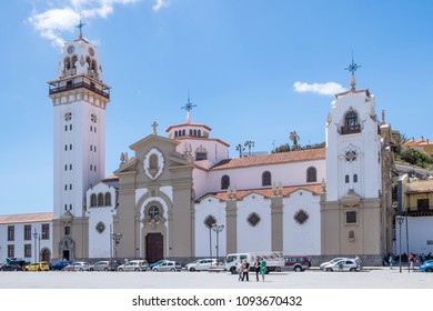 Tenerife, Canary islands - may 16, 2018: Building and main facade of the Basilica of Candelaria next to a large square in the coastal area of the city