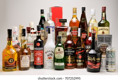 TENERIFE, CANARY ISLANDS - NOVEMBER 10, 2010: Image with several liquors and alcoholic beverages, bottled in different bottles