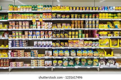 Tenerife, Canary islands - November 12, 2018: Shelves with products inside a modern supermarket in Puerto de la Cruz, north of the island