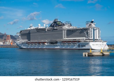 Tenerife, Canary islands - November 18, 2018: View of the Seaview cruise of the MSC company moored in the commercial port of the city of Santa Cruz