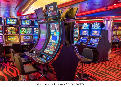 Tenerife, Canary islands - November 18, 2018: Game machines in the interior saloons of the MSC Seaview cruise ship moored in the port of the city of Santa Cruz