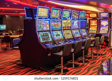 Tenerife, Canary islands - November 18, 2018: View of one of the gaming rooms inside the MSC Seaview cruise ship moored in the port of the city of Santa Cruz