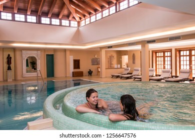 Tenerife, Canary islands - September 13, 2016: Young women in the spa of a luxurious hotel in the tourist city of Puerto de la Cruz
