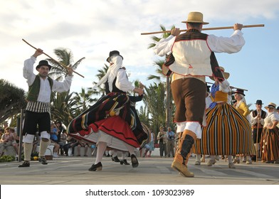 Tenerife, Canary islands - september 27, 2009: Folkloric group dancing the palo dance at a festival in the tourist city of Puerto de la Cruz, on the north coast of the island