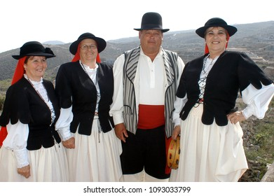 Tenerife, Canary islands - september 27, 2009: Group of people dressed in regional costumes from the Guimar area during the festivities