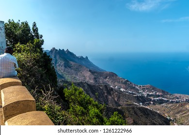 Tenerife, Canary Islands, Spain - The mountain landscape in the north on the island of Tenerife overlooking the province of Taganana. A steep coastal landscape on the Atlantic Ocean in October.