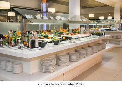 TENERIFE, CANARY ISLANDS, SPAIN - OCTOBER 18, 2017: Buffet rooms in a hotel in the south of the island