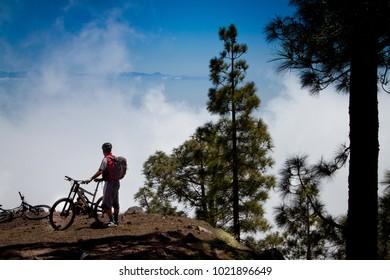 Tenerife, Canary Islands, Spain - Parque Nacional del Teide with mountain bike