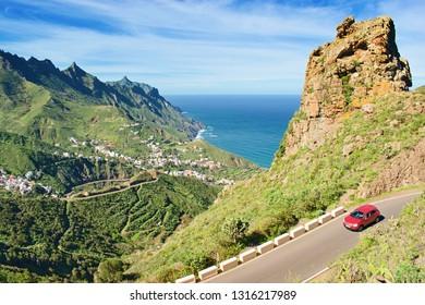 Tenerife, Canary Islands,  Spain. Western coast view, mountain Anaga and village Taganana