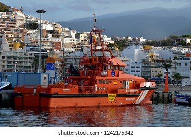 TENERIFE, CANARY ISLANDS, SPAIN-APRIL 10: Salvage vessel in harbor of Los Cristianos,  on April 10, 2018 in Tenerife, Spain