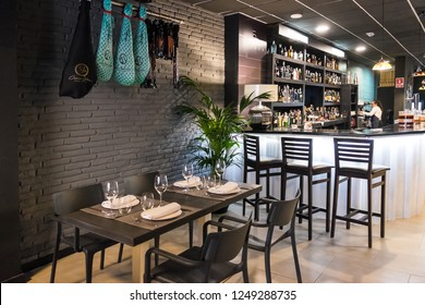 Tenerife, Canay islands -November 30, 2018: View of the interior of a modern restaurant, in the urban center of the city of Santa Cruz
