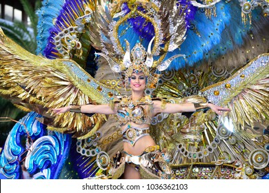 TENERIFE, FEBRUARY 13, Groups in the Carnival in Santa Cruz de Tenerife, during different contests of Carnival Groups. February 13, 2018 Tenerife (Canary Islands) Spain.