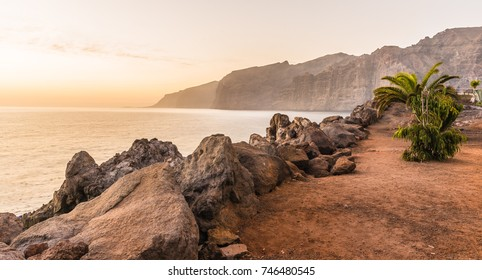 Tenerife landscape, view over te water towards the cliffs.