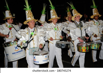TENERIFE, March 4: In the famous Carnival the Santa Cruz de Tenerife, characters and groups to the rhythm of percussion. March 4, 2014, Tenerife (Canary Islands) Spain.