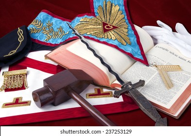 TENERIFE, November 15: Ancient freemasonry symbolic objects of Worshipful Master    ( illustrative editorial).November 15, 2014, Tenerife (Canary Islands) Spain.