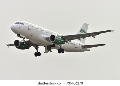 TENERIFE OCT 13: Plane - Airbus A319-112, Germania plane taking off. October 13, 2017, Tenerife (Canary Islands) Spain