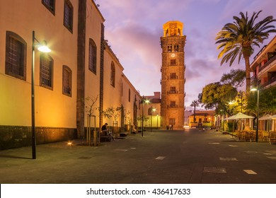 Tenerife, San Cristobal de la Laguna - tower of the Iglesia de la Concepcion by night. A beautiful representative picture of tourism in Tenerife and the Canary Islands.