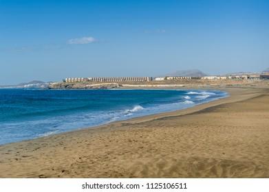 Tenerife south coast - Playa de Tejita sand beach in windy day. Canary islands, Spain.