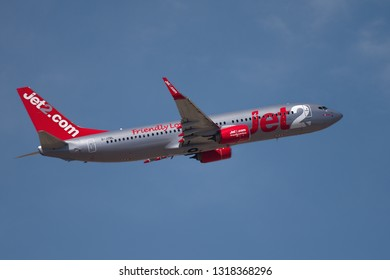 Tenerife, Spain 02.14.2019 Jet2 airlines Boeing 737 aircraft flying in the blue sky