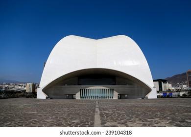 TENERIFE, SPAIN - AUGUST 31, 2013: Auditorio de Tenerife in Tenerife, Spain. It was designed by architect Santiago Calatrava Valls and opened at September 26, 2003.