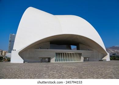 TENERIFE, SPAIN: AUGUST 31, 2013: Auditorio de Tenerife in Tenerife, Spain. It was designed by architect Santiago Calatrava Valls and opened at September 26, 2003.