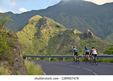 Tenerife, Spain - December 24, 2015: Male cyclists on TF-12 road through green landscape of Anaga mountains in the northeast of Tenerife Canary Islands Spain.