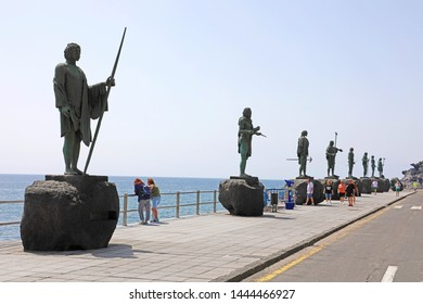 TENERIFE, SPAIN - JUNE 1, 2019: Guanche statues on waterfront of Candelaria village, Tenerife, Spain