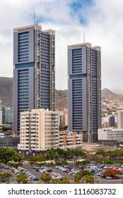 Tenerife, Spain - June 16, 2018: Santa Cruz de Tenerife residential skyscrapers on June 16, 2018 in Tenerife, Canary islands, Spain.
