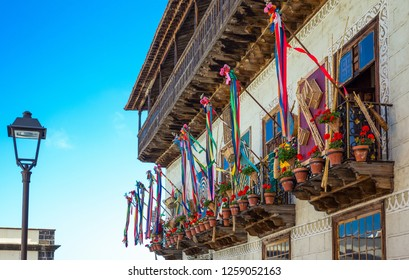 Tenerife, Spain - June 23, 2013: La Orotava, the balconies of the Casa De Los Balcones in the old town center