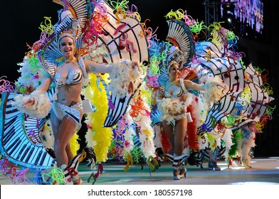 TENERIFE, SPAIN -  MAR 4: In the famous Carnival the Santa Cruz de Tenerife, characters and groups to the rhythm of percussion. March 4, 2014, Tenerife (Canary Islands) Spain.