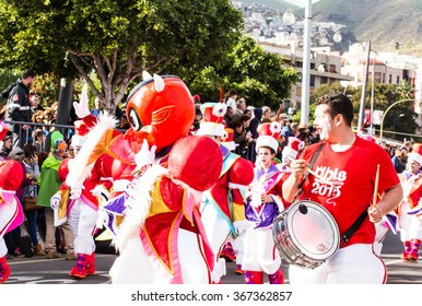 TENERIFE, SPAIN -  MAR 4: In the famous Carnival the Santa Cruz de Tenerife, characters and groups to the rhythm of percussion. March 4, 2014, Tenerife, Canary Islands, Spain.
