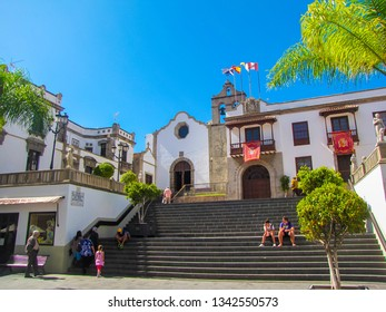 TENERIFE, SPAIN - MARCH 28, 2013: View of the  town of the Ayuntamiento Icod De Los Vinos (English: City Council Icod of the Wines).